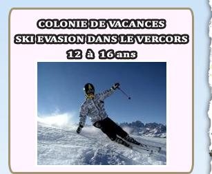 Colonies de vacances ski evasion dans le vercors 12 a 16 ans