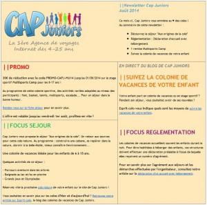 Newsletter aout 2014 cap juniors