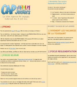 Newsletter Cap Juniors septembre-octobre 2014