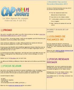 Newsletter Novembre Décembre 2014 Cap Juniors