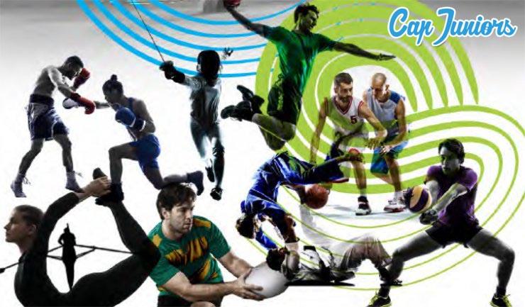 Photo montage représentant un certain nombre de sportif en action dans leur discipline